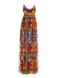 Dolce And Gabbana Carretto Print Chiffon Maxi Dress