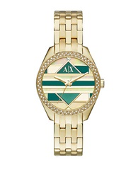 Armani Exchange Green Mosaic Dial Goldtone Stainless Steel Watch