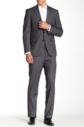 Kenneth Cole Reaction Medium Grey Pinstripe Two Button Notch Lapel Wool Suit Gray