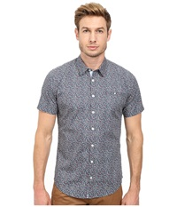 Moods Of Norway Per Vik Short Sleeve Shirt 151068 Majolica Blue Men's Short Sleeve Button Up Multi