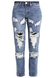 Glamorous Petite Relaxed Fit Jeans Mid Blue Stone Dark Blue Denim