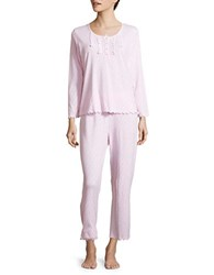 Miss Elaine Two Piece Floral Printed Top And Pants Pajama Set Pink
