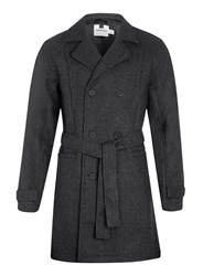 Topman Check Wool Blend Trench Coat Grey
