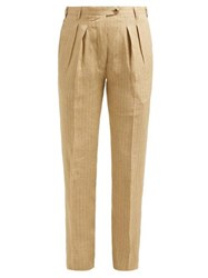 Giuliva Heritage Collection The Husband High Rise Linen Trousers Beige Multi