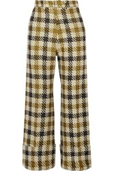 Sea Cropped Checked Tweed Wide Leg Pants Yellow