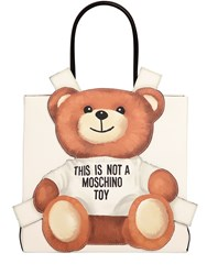 Moschino Teddy Bear Tab Faux Leather Tote Bag