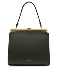 Mansur Gavriel Elegant Top Handle Leather Bag Dark Green