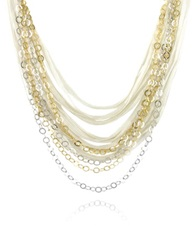 Daco Milano Multi Strand Sterling Silver Lace Chain Necklace