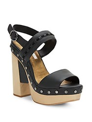 Cynthia Vincent Potent Studded Leather Platform Sandals Black