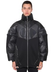 Byblos Zip Up Nylon And Cotton Jersey Puffer Coat Black