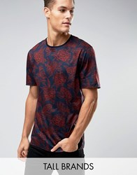 Ted Baker Tall T Shirt In Floral Print Dark Orange Navy