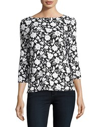 Imnyc Isaac Mizrahi Boatneck Stretch Cotton Top Black Bi