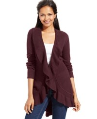 Styleandco. Style And Co. Long Sleeve Ruffle Trim Cardigan