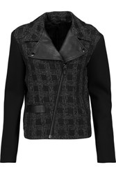 Karl Lagerfeld Deena Leather Trimmed Boucle And Scuba Biker Jacket Black