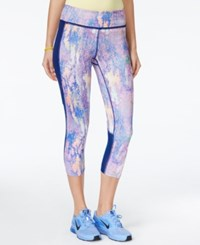Jessica Simpson The Warm Up Juniors' Printed Cropped Active Leggings Only At Macy's Marble Neon