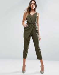 Asos Cami Jumpsuit With Peg Leg And Lace Trim Khaki Green
