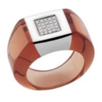 Andre Benitah Creations Paris Resin Gold And Diamonds In A Square Setting Ring Smoked
