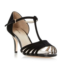 Linea Minette Strappy T Bar Dressy Sandals Black