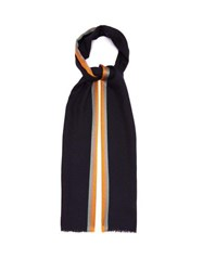 Paul Smith Artist Stripe Wool Blend Scarf Navy