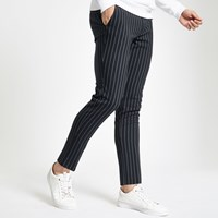 River Island Navy Stripe Super Skinny Trousers
