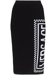 Versace High Waisted Logo Print Fitted Midi Skirt Black