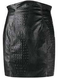 Nineminutes Crocodile Effect Mini Skirt Black