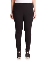 Lafayette 148 New York Plus Size Punto Neoprene And Faux Leather Riding Leggings Black