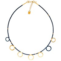 Be Jewelled Gold Plated Oxydised Sterling Silver Circle Hematite Necklace Gold Black