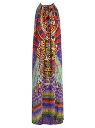 Camilla Rainbow Warrior Print Drawstring Dress Blue Multi