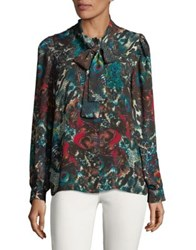Context Printed Tie Neck Blouse Multi