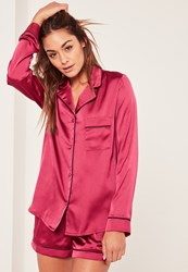 Missguided Pink Piping Detail Pyjama Set Raspberry