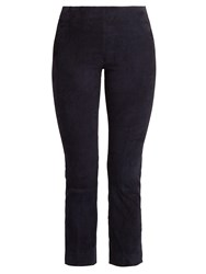 Vince Slim Leg Stretch Suede Trousers Navy
