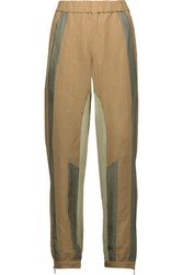 Belstaff Blake Silk Satin Trimmed Twill And Crepe Straight Leg Pants Army Green