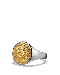David Yurman Petrvs Lion Signet Pinky Ring With 18K Gold Gold Silver