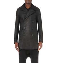 Rick Owens Double Breasted Leather Coat Black