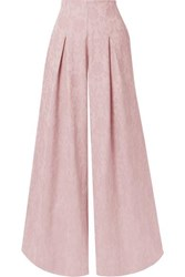 Mother Of Pearl Net Sustain Lola Organic Cotton And Wool Blend Jacquard Wide Leg Pants Pastel Pink