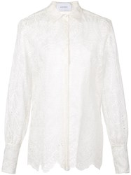 Marchesa Embroidered Sheer Shirt White