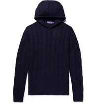 Ralph Lauren Purple Label Slim Fit Cable Knit Cashmere Hoodie Midnight Blue