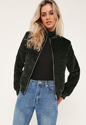 Missguided Green Faux Wool Bomber Jacket