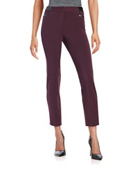 Rafaella Petites Petite Faux Leather Trimmed Pants Autumn Purple