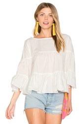 Central Park West Palm Beach Ruffle Top White