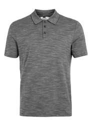 Topman Charcoal Spacedye Polo Neck T Shirt Grey