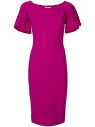 La Petite Robe Di Chiara Boni Flared Sleeve Fitted Dress Pink And Purple