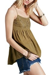 Women's Free People 'Blackbird' Embroidered Babydoll Top Green