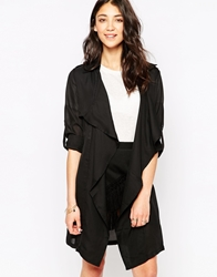 Brave Soul Belted Duster Coat Black