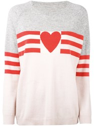 Chinti And Parker Love Heart Sweater Women Cashmere M Pink Purple