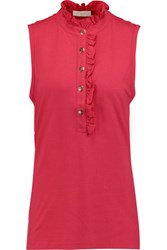 Tory Burch Lidia Stretch Pique Top Red