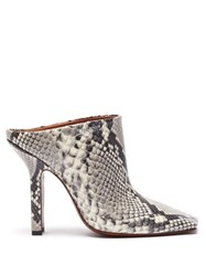 Vetements Boomerang Python Effect Leather Mules White Multi