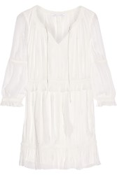 Diane Von Furstenberg Edlyn Broderie Anglaise Georgette Mini Dress Ivory