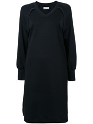 Muveil V Neck Sweater Dress Black